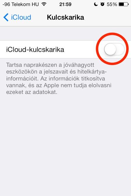 iCloud-kulcskarika