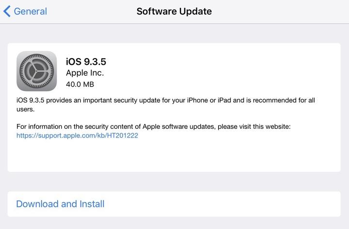 Fontos biztonsági frissítéssel megérkezett az iOS 9.3.5!