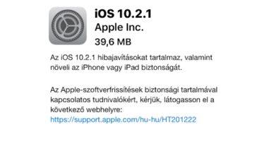 Frissíthető az iOS 10.2.1 4f3e0f09ec